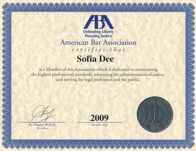 Sofia-American-Bar-Aassociation-Certificate