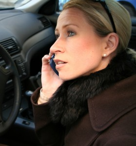 Pull over to talk on a cellphone in the car